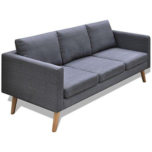 vidaXL Sofa 3-Sitzer Polstersofa Stoffsofa Lounge Couch Holz Design Sitzmöbel