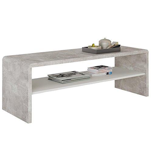 CARO-Möbel Couchtisch TV Lowboard Fernsehtisch Lexa, in Betonoptik/weiß, 120 x 40 cm, mit Ablagefach