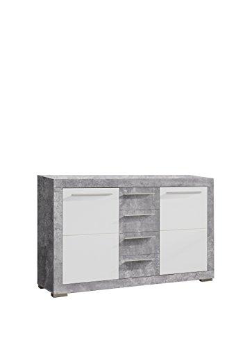 NEWFACE Atrium Sideboard, Holz, betonoptik/weiß Glanz, 152.20 x 43.60 x 94.10 cm