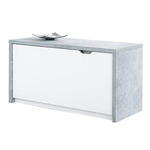 Phoenix Bruno Sitzbank 1 Klapptüre, Holz, Beton, Weiss, 36 x 90 x 46.7 cm
