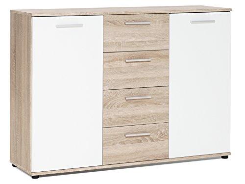 """Sideboard Standschrank Anrichte Beistellschrank Highboard Kommode """"Jacklin I"""" Sonoma-Eiche/Weiß"""