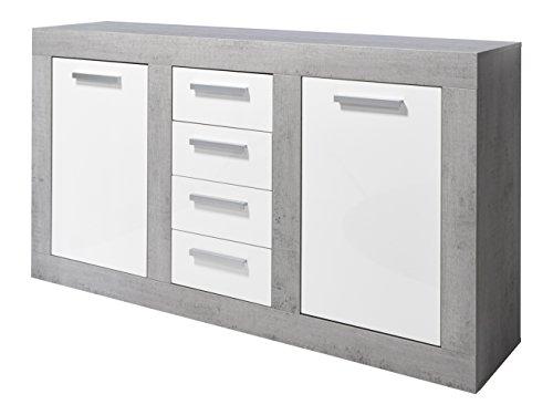 Trendteam Wohnzimmer Sideboard Kommode Schrank Pure, 170 x 94 x 40 cm in Korpus Beton Stone Dekor, Front Weiß Hochglanz mit Vier Schubkästen und Viel Stauraum