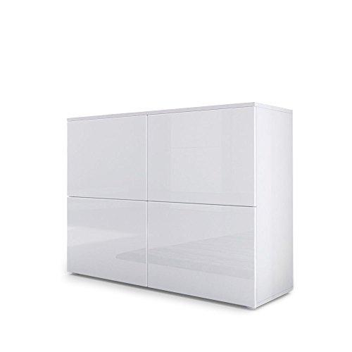 Vladon Kommode Sideboard Rova, Korpus in Weiß Matt/Türen in Weiß Hochglanz und Weiß Hochglanz