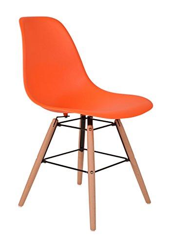 ts-ideen 1 x Design Klassiker Stuhl Retro 50er Jahre Barstuhl Küchenstuhl Esszimmer Wohnzimmer Sitz in Orange mit Holz