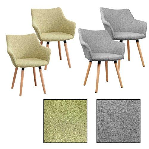 ESTEXO 2/4/6/8x Retro - Esszimmerstuhl Tomke, Stühle, Stuhl, Küchenstuhl, Esszimmerstühle, Grau, Grün (2 Stück, Grün)