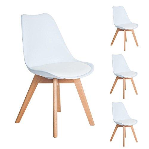 4er Set Esszimmerstühle mit Massivholz Buche Bein, Retro Design Gepolsterter lStuhl Küchenstuhl Holz, Weiß (54 x 48 x 83…