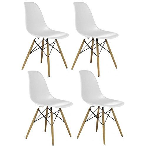 AHOC Charles & Ray inspiriert Eiffelturm Retro Design Wood Style Stuhl für Büro Lounge Küche–weiß (4)