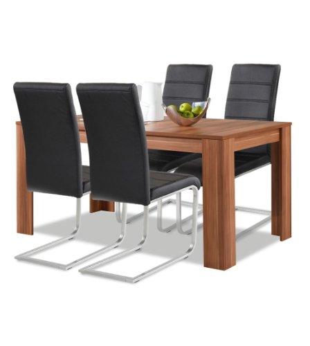 Allegro Agionda® Esstisch + Stuhlset : 1 x Esstisch Toledo Nussbaum 140 x 90 + 4 Freischwinger schwarz