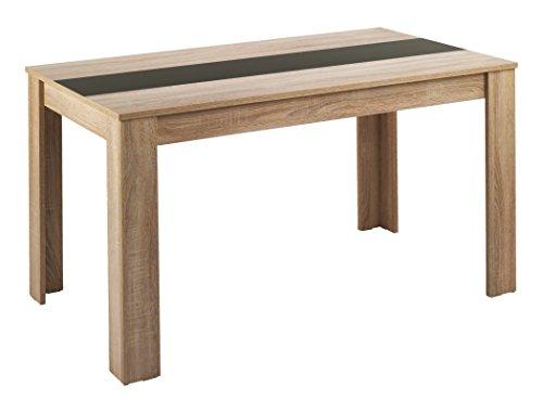 CAVADORE 80468 Esstisch NICO / Moderner, praktischer Küchentisch 120 x 80 cm in Melamin Sonoma Eiche mit Mittelplatte in weiß oder schwarz / Esszimmertisch in Hellbraun / 120 x 80 x 75 cm (L x B x H)