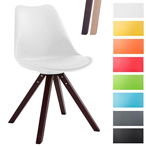 CLP Design Retro-Stuhl TOULOUSE SQUARED mit Kunstlederbezug und hochwertigem Sitzpolster | Kunstoff-Lehnstuhl mit Holzgestell | In verschiedenen Farben Weiß, Holzgestell Farbe cappuccino, Bein-Form eckig