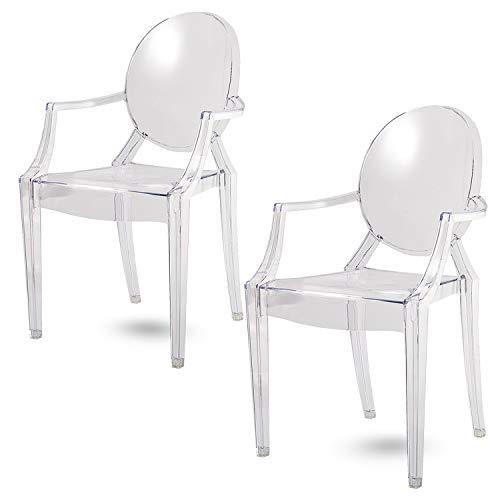 Damiware Spirit Eszzimmerstühle 2er Set | Design Stuhl mit Armlehnen | Transparent Hochwertig Verarbeitung - Komfortables Sitzen (Transparent)