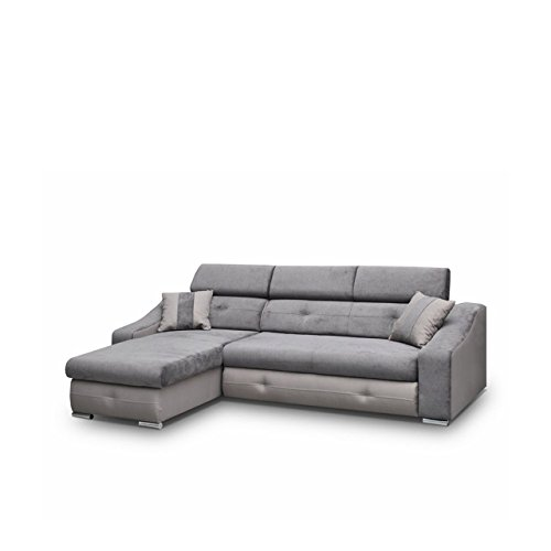 Ecksofa Milan mit einstellbaren Kopfstützen, Design Eckcouch mit Bettfunktion, Funktionssofa L-Form, Polsterecke mit Bettkasten und Schlaffunktion, Bettsofa (Ecksofa Links, Neo 12 + Milton 15)