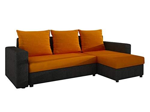Ecksofa Top! Sofa Eckcouch Couch! mit Schlaffunktion und 2 Bettkasten! Ottomane Universal, L-Form Schlafsofa Farbauswahl (04. Korpus, Seiten, Rückenlehne: Alova 04; Sitzfläche, Kissen: Alova 43)