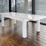 Ess-Tisch weiß Hochglanz aus MDF 180x90 cm ausziehbar auf 260 cm recht-eckig | Luca | Moderner Küchen-Tisch strahlend weiss | Ausziehtisch Hochglanz weiß lackiert | Design Esszimmertisch mit Funktion