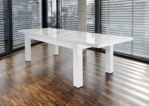 Ess-Tisch weiß Hochglanz ausziehbar aus MDF 180x90 cm recht-eckig | Luca | Moderner Küchen-Tisch weiss ausziehbar auf 260cm x 90cm | Ausziehtisch Hochglanz weiß lackiert | Designer Esszimmertisch mit Funktion strahlend weiß lackiert