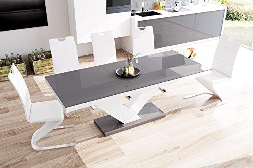 Esstisch Victoria Tisch Ausziehbar in Super Hochglanz Acryl (weiß Hochglanz/Grau Hochglanz)