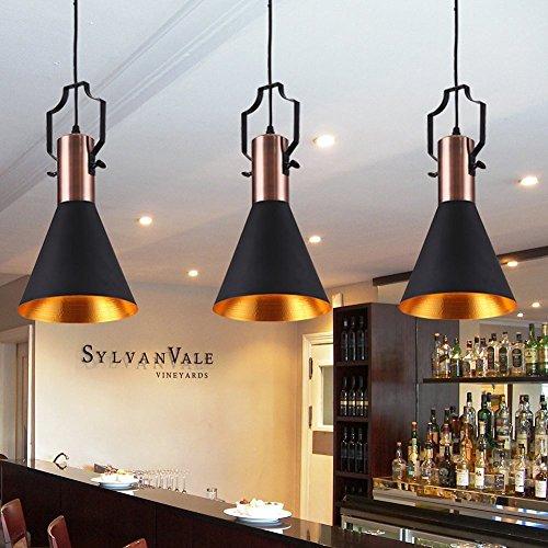 FOSHAN MINGZE 1-licht E27 Retro Pendelleuchte Kupfer innen Matt Schwarz Außen Kronleuchter Deckenleuchte für Wohnzimmer, Schlafzimmer, Flur, Esszimmer, Bar, Restaurant, Café