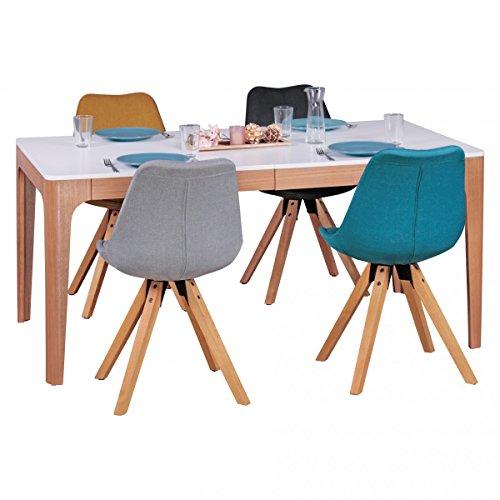 FineBuy Esszimmertisch 160-220 x 76 x 90 cm aus MDF Holz | Esstisch mit Tischplatte ausziehbar in weiß | Robuster Küchen-Tisch im Retro Stil | Auszieh-Tisch in skandinavischem Design | Untergestell in Eschefurnier