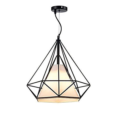 Goeco industrielle retro hängelampe vintage Kronleuchter Kreative diamant Pendelleuchte mit Eisen Lampenschirm für Wohnzimmer, Café, Bar, Küche, Flur (25cm)