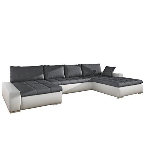 Großes Design Ecksofa Caro, Elegante U-Form Couch Eckcouch mit Bettkasten und Schlaffunktion Couchgarnitur Schlafsofa Farbauswahl Bettsofa für Wohnzimmer Wohnlandschaft (Soft 017 + Casablanca 2315)