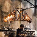 KJLARS Retro Pendelleuchte Vintage Kronleuchter Spiralelampe Hängelampe Pendellampe lampeleuchte Eisen-Lampe…