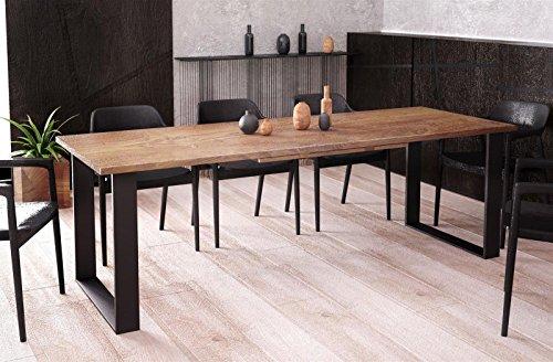 Endo-Moebel Kufentisch Esstisch Cora Nussbaum ausziehbar 130cm - 210cm Küchentisch mit Kufen Design