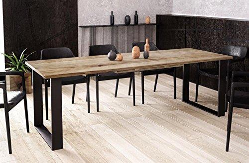 Kufentisch Esstisch Cora San Remo Eiche Trüffel ausziehbar 130cm - 210cm Küchentisch mit Kufen Design