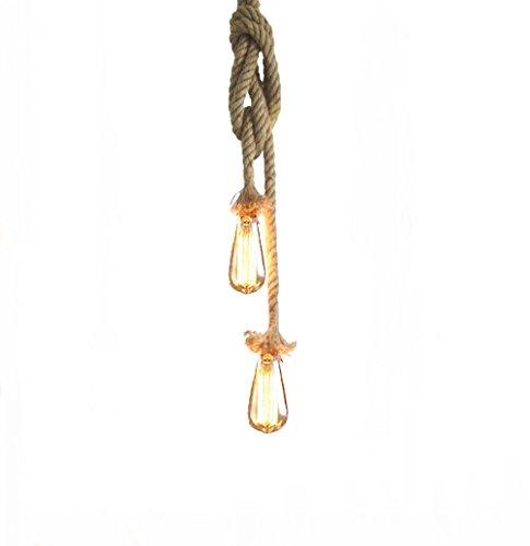 Lixada Vintage Seil Hängelampe 250cm(125cm+125cm)Pendelleuchte AC220V E27 (ohne Birne)