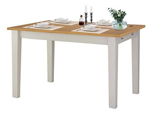 Loft24 Tavian Esstisch Esszimmertisch ausziehbar 120-160 cm Küchentisch Holztisch Esszimmer Landhaus Kiefer Holz weiß…