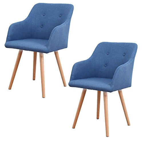 MCTECH® 2X Stuhl Esszimmerstühle Esszimmerstuhl Stuhlgruppe Konferenzstuhl Küchenstuhl Armlehne Büro mit Massivholz…