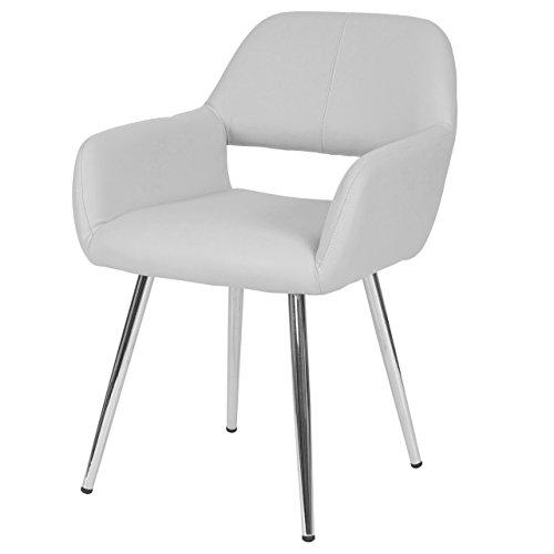 Mendler Esszimmerstuhl HWC-A50, Stuhl Küchenstuhl, Retro, Kunstleder - weiß