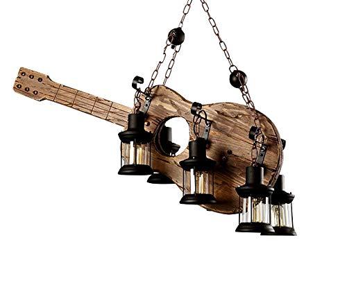 Metall Holz und Glas Kronleuchter Pendelleuchte Retro rustikale Loft Antik Lampe Edison Vintage Wandleuchte dekorative Leuchten und Deckenleuchte Leuchte (6 Lichter)