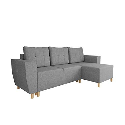 Mirjan24  Ecksofa Brema, Sofa, L-Form Couch mit Schlaffunktion und Bettkasten Farbauswahl Eckcouch Ottomane Universal Bettsofa Schlafsofa (Inari 91)