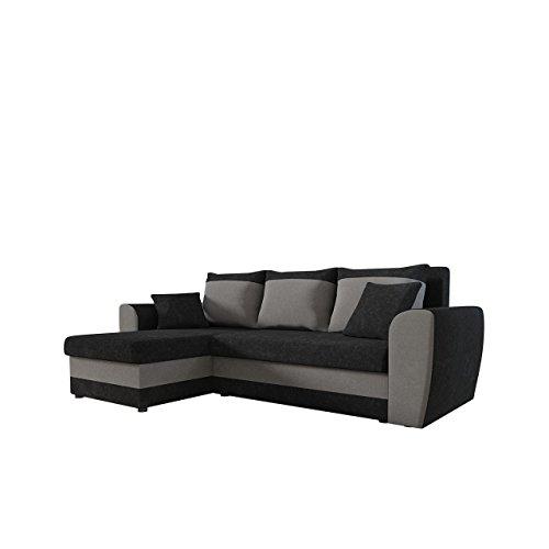 Mirjan24 Ecksofa Domo, Eckcouch Couch mit Schlaffunktion, Bettkasten, L-Form Sofa! Farbauswahl, Bettfunktion! Wohnlandschaft! Seite Universal! (Alova 04 + Alova 36)