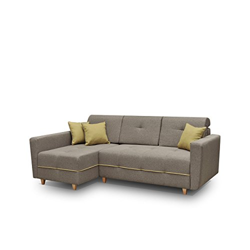 Mirjan24  Ecksofa Eckcouch Grey! Sofa Couch mit Bettkasten und Schlaffunktion, Hochelastischer Schaumstoff HR, Funktionssofa L-Form Schlafsofa Bettsofa (Ecksofa Links, Enzo 156 + Enzo 153)