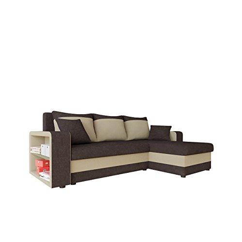 Mirjan24  Ecksofa Fano, Design Eckcouch Couch! mit Zwei Bettkasten, Schlaffunktion, Farbauswahl, Bettfunktion! Wohnlandschaft! L-Form Sofa! Seite Universal! vom Hersteller! (Alova 68 + Alova 07)