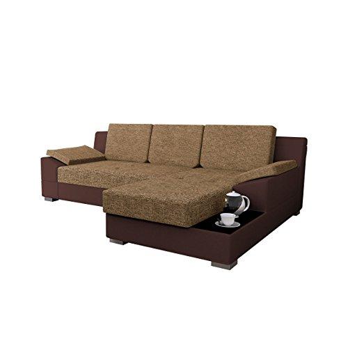 Mirjan24  Ecksofa Nemo! Eckcouch Couch mit Bettkasten und Schlaffunktion, Glasplatte, Rücken mit Material überzogen, Funktionssofa L-Form Schlafsofa Bettsofa (Ecksofa Rechts, Soft 066 + Tornado 48)