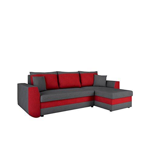 Mirjan24  Ecksofa Sena, Eckcouch mit Zwei Bettkasten, Couch L-Form Sofa, Farbauswahl, Schlaffunktion, Bettfunktion, Wohnlandschaft, Seite Universal, vom Hersteller (Alova 36 + Alova 46)