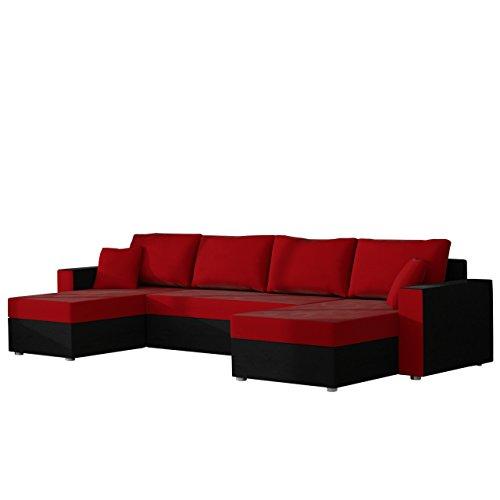 Mirjan24 Outlet Ecksofa Sofa Couchgarnitur Couch Rumba Style! Wohnlandschaft mit Schlaffunktion und Bettkasten, Ecksofa in U-Form, Polstermöbel, Farbauswahl, Kissen-Set (Alova 04 + Alova 46)