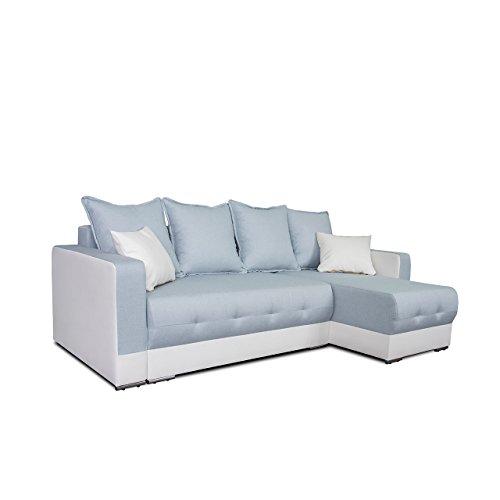 Mirjan24  Ecksofa Spiro! Eckcouch mit Schlaffunktion und Bettkasten! Couch Sofa! Farbauswahl, Ottomane Universal, L-Form Schlafsofa Bettsofa (Soft 017 + Twist 17)