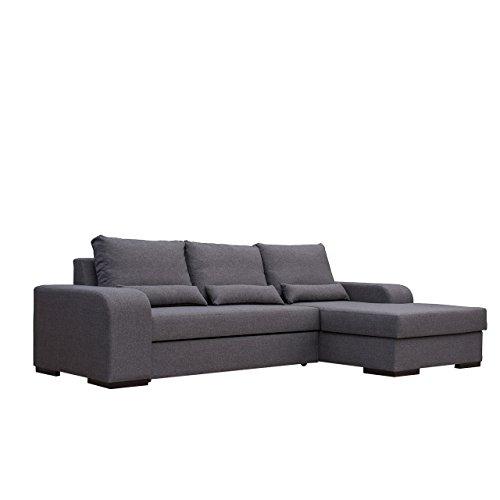 Mirjan24  Ecksofa Virago, L-Form Eckcouch, Ausziehbar Sofa mit Bettkasten und Schlaffunktion, Design Couch mit Bettfunktion, Wohnlandschaft (Sawana 05, Seite: Rechts)