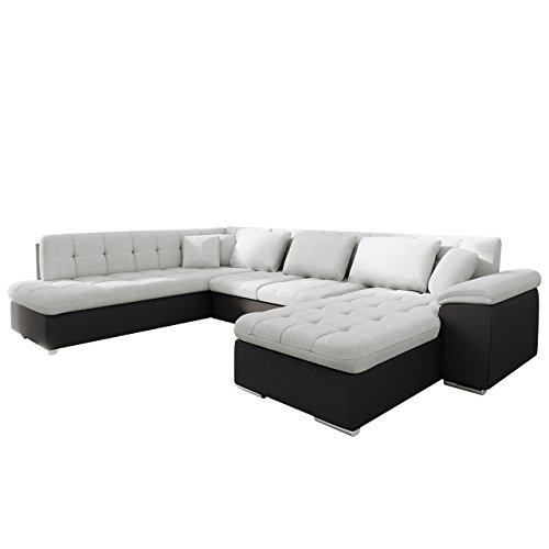 Mirjan24  Outlet !! Eckcouch Ecksofa Niko Bis! Design Sofa Couch! mit Schlaffunktion und Bettkasten! U-Sofa Große Farbauswahl! Wohnlandschaft vom Hersteller (Ecksofa Rechts, Hippo Black + Porto 31)