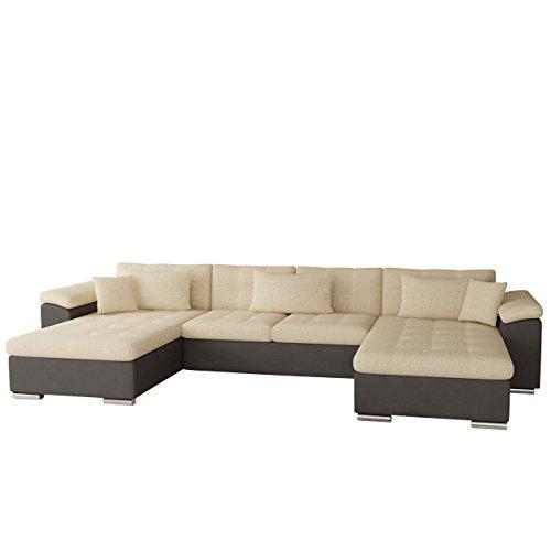Mirjan24  Outlet !! Ecksofa Wicenza Bis, Eckcouch mit Zwei Bettkasten und Schlaffunktion, Bettfunktion, Sofa, Wohnlandschaft, U-Form, Couch vom Hersteller (Soft 024 + Valencia 205)
