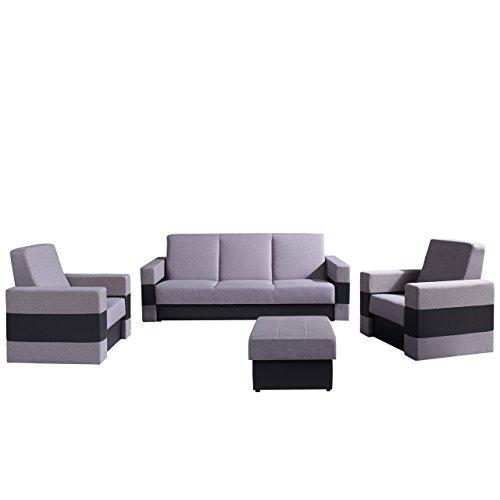 Mirjan24  Polstergarnitur Gordia mit Bettkasten und Schlaffunktion, Sofa, Polsterhocker und Zwei Sessel, Wohnzimmer-Set (Soft 011 + Lux 05)