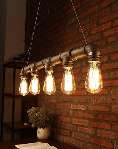Natsen® Retro Kronleuchter Bar Pendelleuchten Balkon treppe Industrierohre Stil Wasser Leuchter lampe CD084