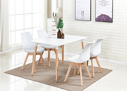 P&N Homewares® Lorenzo Esstisch und 4 Stühle Set Retro und Modern Dining Set Weiß Schwarz und Grau Stühle mit weißen Esstisch skandinavisch (Weisse STÜHLE)