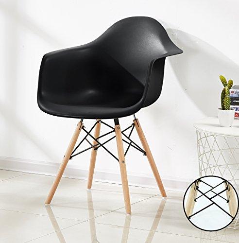 P&N Homewares Romano Da Moda Wanne Stuhl Kunststoff Retro Esszimmer Stühle weiß Schwarz Grau Rot Gelb grün Retro Schwarz