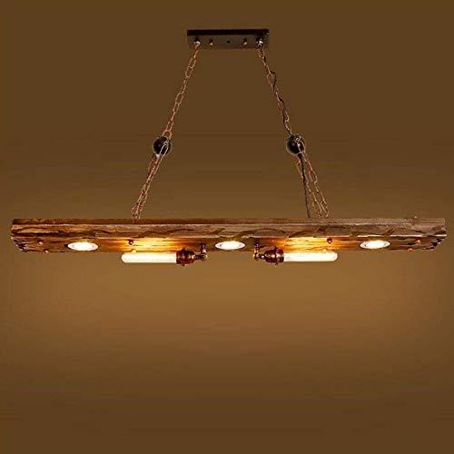 Pendelleuchte Retro Industrial Design Pendellampe Vintage Hängeleuchte Holz Metall E27 Kronleuchter für Küche Esszimmer Bar Cafe(ohne Glühbirne)