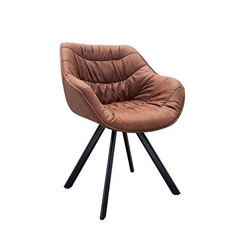 Retro Stuhl gepolstert THE DUTCH COMFORT antik braun cognac Metall Esszimmer Sessel Polsterstuhl Bürosessel mit Armlehne