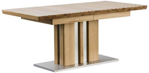 Robas Lund, Tisch, Esszimmertisch, Säulentisch, Bolzano, ausziehbar, Kernbuche/Massivholz/Edelstahloptik, 160(260) x 77…